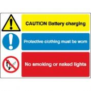 Multiple safety sign - Battery Charging 003